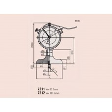Глубиномер индикат. ГИ-200 0,01 (основание 101,6мм) (измер. головка 2902 SB) 7212 Mitutoyo